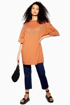 Topshop Rust Broderie T-Shirt Dress