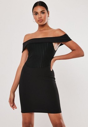 Missguided Black Rib Corset Detail Bardot Mini Dress