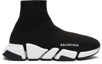 Balenciaga Black and White Speed 2.0 Sneakers
