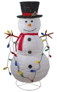 Northlight Lighted 3D Chenille Winter Snowman with Top Hat Outdoor Christmas Decoration