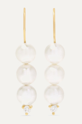 Mizuki 14-karat Gold, Pearl And Diamond Earrings - one size