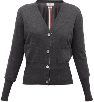 Thom Browne V-neck Silk-blend Cardigan - Womens - Dark Grey