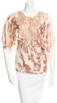 Anna Sui Lace-Accented Floral Print Top