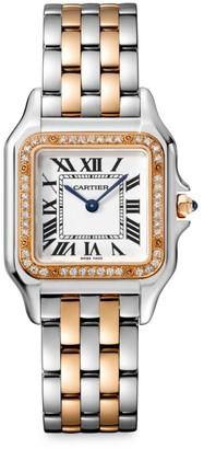 Cartier Panthere de Medium Stainless Steel, 18K Rose Gold & Diamond Bracelet Watch