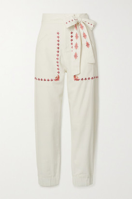 CHUFY Gouyen Belted Embroidered Cotton-twill Pants - Ivory