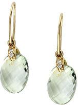 Effy 14K Yellow Gold Diamond And Green Amethyst Earrings