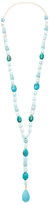 Oval & Square Stone Lariat Necklace