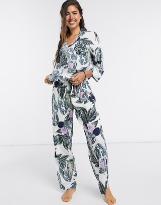 ASOS DESIGN tropical long sleeve shirt & pants pyjama set in green & purple
