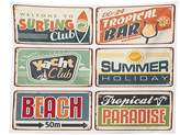 vipsung 1950s Decor Tablecloth Summer Holiday Vintage Camping Beach Sign Boards in Old Style Faint Colors Art Print Dining Room Kitchen Rectangular Table Cover