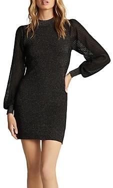 Reiss Sia Metallic Threaded Sheer Sleeve Dress