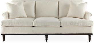 Michael Thomas Collection Garbo Sofa - Pearl Linen - frame, espresso; upholstery, pearl; nailheads, bronze