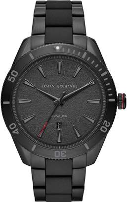 Armani Exchange Enzo Three-Hand Black Stainless Steel Watch