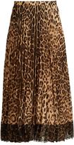 RED Valentino Pleated leopard-print midi skirt