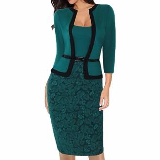 Qiran Ladies Dress Elegant Women Business Office Work Formal Party Belt Bodycon Sheath Pencil Dress Blazer Dress Lapel Collar Vintage OL Dress Skirt Jumper Knitted Tunic Dress Green