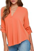 Dearlovers Women Summer Soft Loose 3/4 Sleeve Shirts Blouse Tops Red