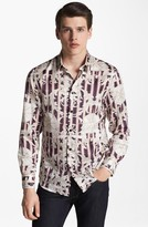 Versace Print Silk Blend Shirt Navy/ White/ Red/ Tan 42 EU