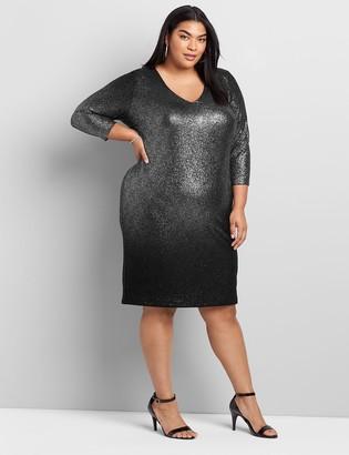 Lane Bryant Metallic Foil 3/4-Sleeve Sheath Dress