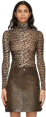 Ganni Black and Brown Leopard Mesh Turtleneck