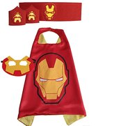 Cocoliu Super Hero Cape Bundle - 4 Items - 1 Cape - 1 Mask - 1 Waistband - 2 Wristbands - Great for Kids Birthday Party , Halloween , pretend play parties , Christmas