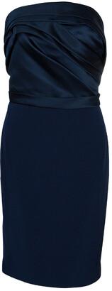 Marchesa Navy Blue Strapless Satin and Silk Dress L