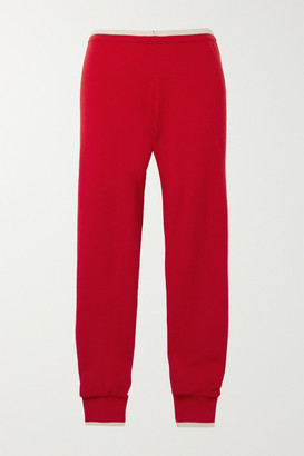 Madeleine Thompson Plutus Two-tone Cashmere Track Pants - Red