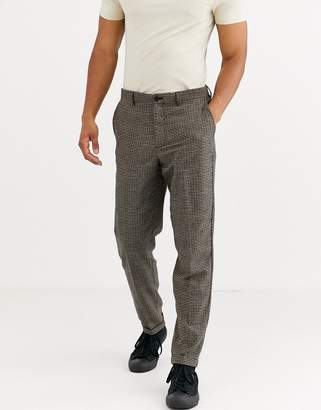 Selected regular fit wool mix trousers in brown puppy tooth