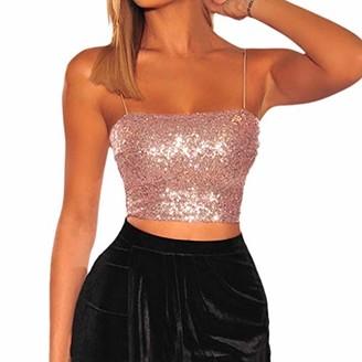DEELIN Tops Womens Summer Beach Sea Camisole Sequins Tank Top Blackless Sleeveless Off The Shoulder Crop Top Sexy Bra Bandeau Vest Strapless T-Shirt(Pink M)