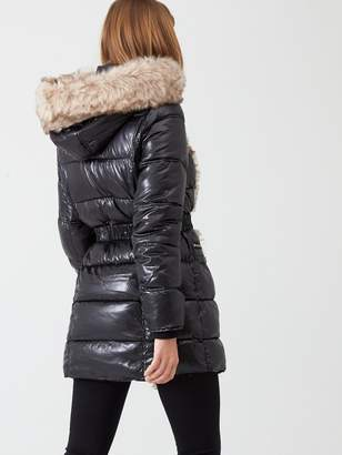 River Island Faux Fur Front High Shine Padded Jacket - Black