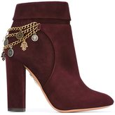 Aquazzura chain detail booties - women - Leather/Suede - 38.5