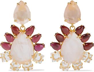 Bounkit Convertible 14-karat Gold-plated, Garnet And Quartz Earrings