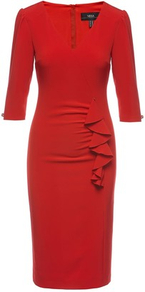 Nissa Red Front Ruffle Detail Midi Bodycon Dress