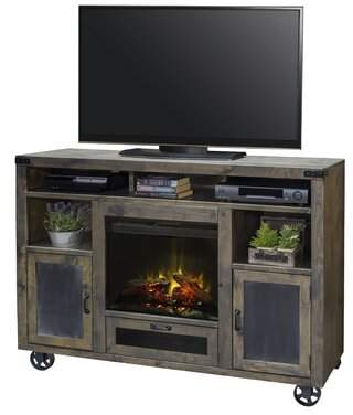 Laurèl Foundry Modern Farmhouse Narbonne TV Stand for TVs up to 70 inches with Electric Fireplace Included Foundry Modern Farmhouse