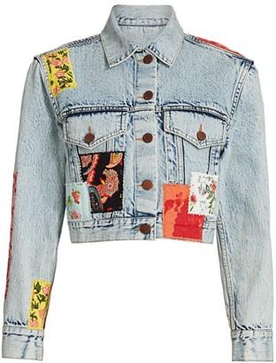 Alice + Olivia Patchwork Cropped Denim Jacket