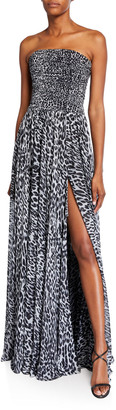 Rasario Animal-Print Strapless Ruched Gown