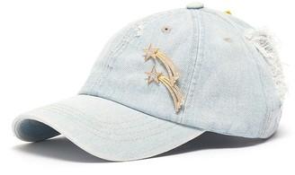 Venna Shooting star pin slogan patch denim baseball cap