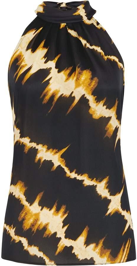 Dorothy Perkins Womens Black Tie Dye Print Halter Neck Top