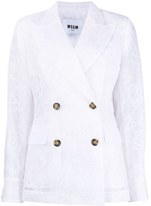 MSGM Floral Lace Double-Breasted Blazer