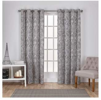 Exclusive Home Lamont Branch and Vine Textured Linen Jacquard Grommet Top Window Curtain Panel Pair - Exclusive Home