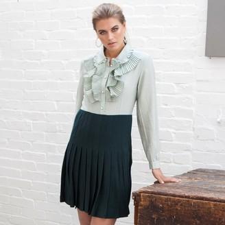 Jovonna London Green Shadi Pleated Ruffle Dress - extra small
