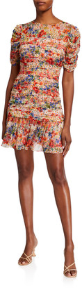Shoshanna Kayleigh Floral Print Short Ruched Dress