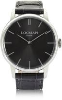 Locman 1960 Stainlees Steel Men's Watch w/Black Croco Embossed Leather Strap