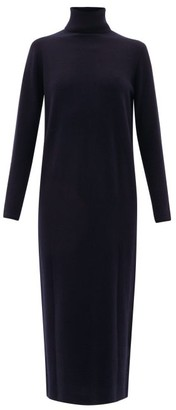 Allude Roll-neck Wool-blend Sweater Dress - Womens - Navy