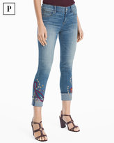 White House Black Market Petite Embroidered Slim Crop Jeans