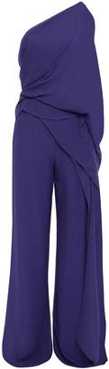 Roland Mouret Nettleton One-shoulder Draped Silk-crepe Jumpsuit