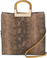 Neiman Marcus Sasha Snake-Embossed Tote Bag, Taupe/Warm
