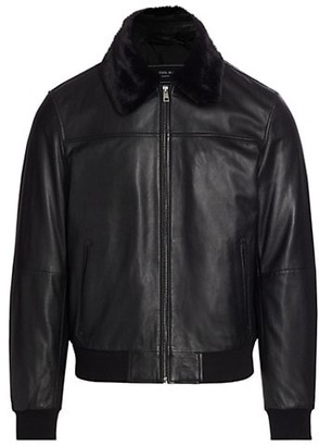 Saks Fifth Avenue MODERN Faux Shearling-Collar Leather Jacket