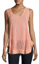 Johnny Was Hoxie Sleeveless Eyelet Tank, Coral Sunset