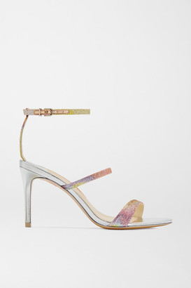 Sophia Webster Rosalind Glittered Mirrored-leather Sandals - Silver