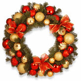 NATIONAL TREE CO National Tree Co. Red And Gold Ornament Evergreen Indoor/Outdoor Christmas Wreath
