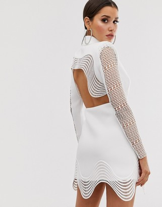 Asos Design DESIGN lace insert cut out tux blazer mini dress-White